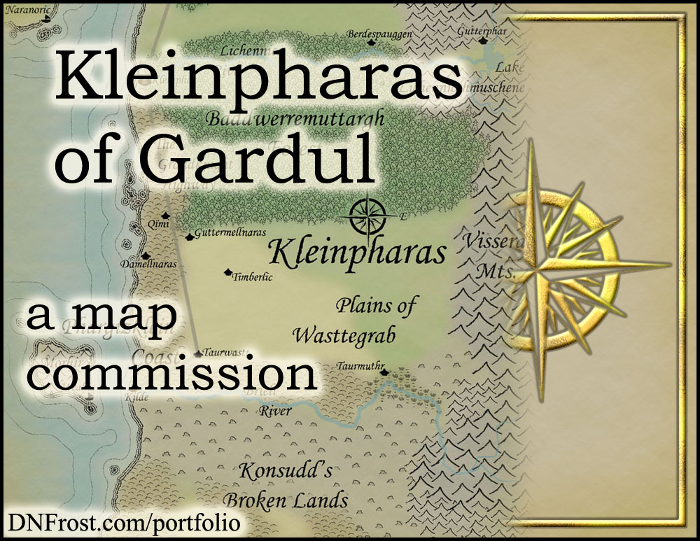 Kleinpharas of Gardul: fantasy realm of Jeffery W Ingram http://www.dnfrost.com/2016/05/kleinpharas-of-gardul-map-commission.html A map commission by D.N.Frost @DNFrost13 Part 1 of a series.