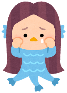 アマビエのイラスト(泣いた顔)