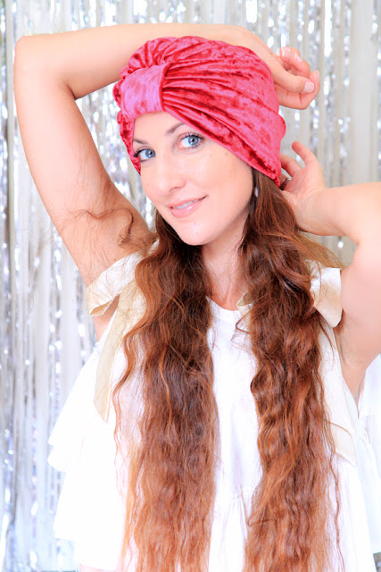 Crushed Velvet Turban in Red by Mademoiselle Mermaid