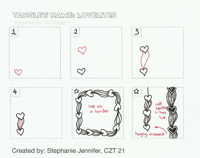 step outs to Lovelites Zentangle, heart Zentangle, Stephanie Jennifer