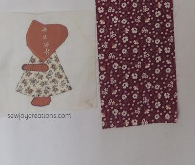 sunbonnet sue block vintage fabric embroidery