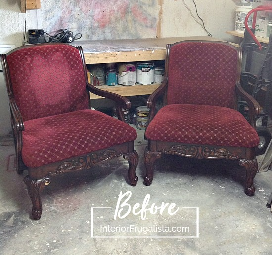 DIY Upholstered French Armchairs Before