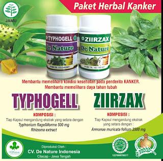 Gambar Obat Kanker Payudara Tradisional Typhogell dan ziirzax