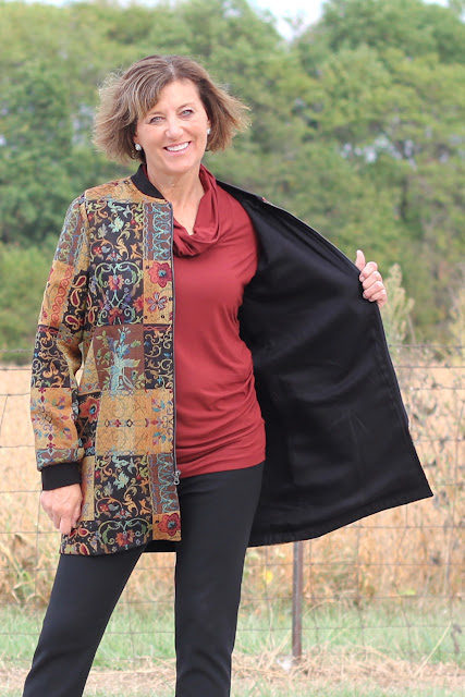 Style Maker Fabrics' Fall 2017 Style Tour - Patchwork Jacquard made into Vogue 9275 - lining