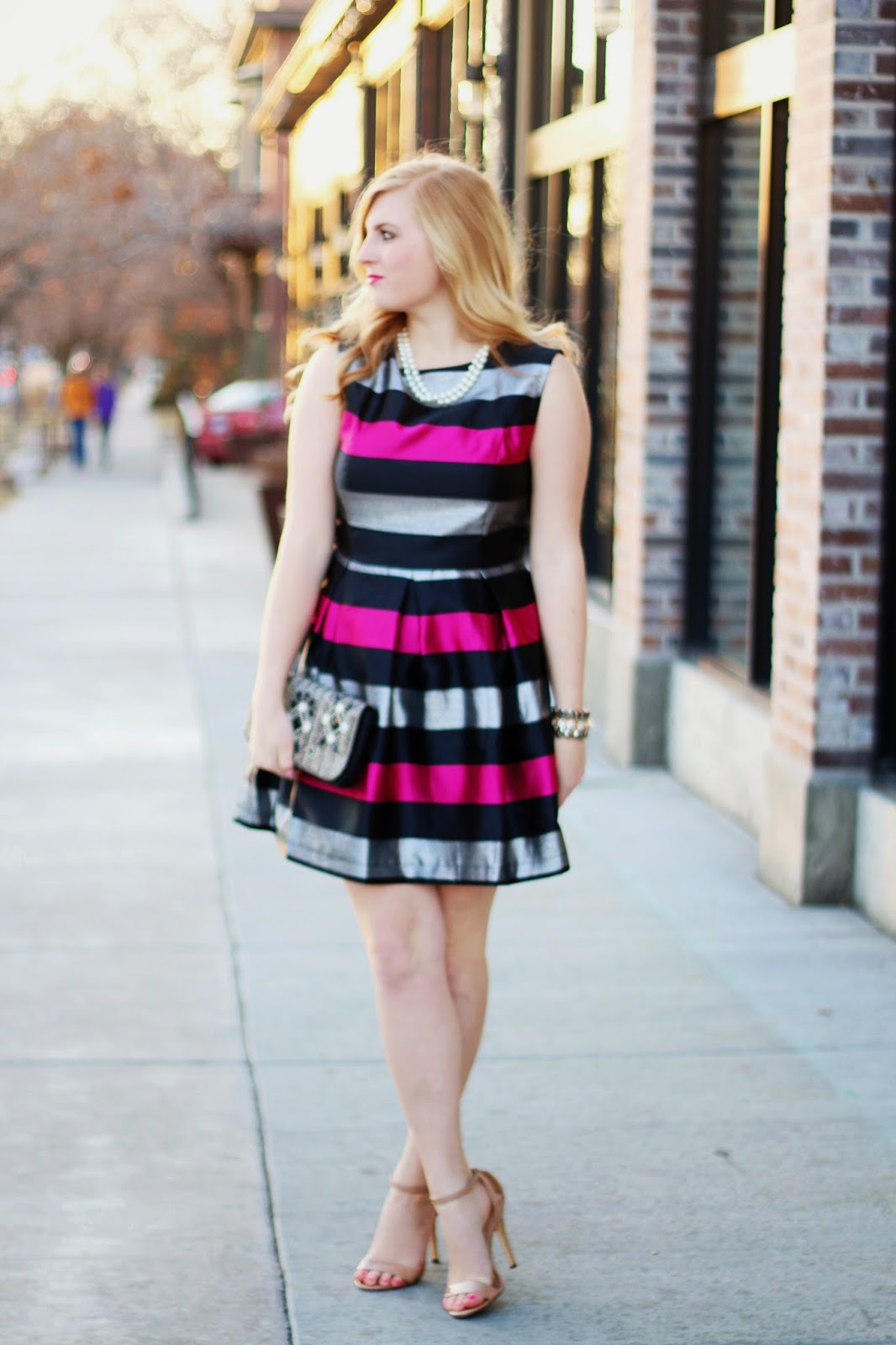 Pink, Silver, and Black Striped Dress