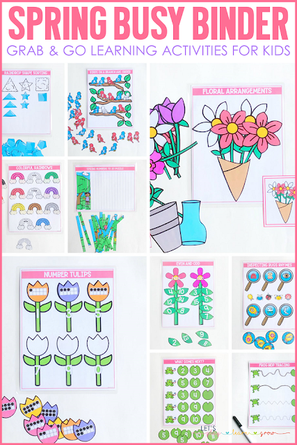 This learning activity binder includes 10 Spring themed learning activities for preschool and kindergarten. Use it for morning work, traveling, quiet time activities and more. Check out all ten skills covered and see other ways you can use our busy binder products here.