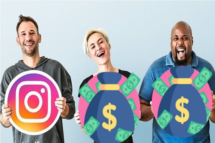 Ícone do Instagram e de dinheiro