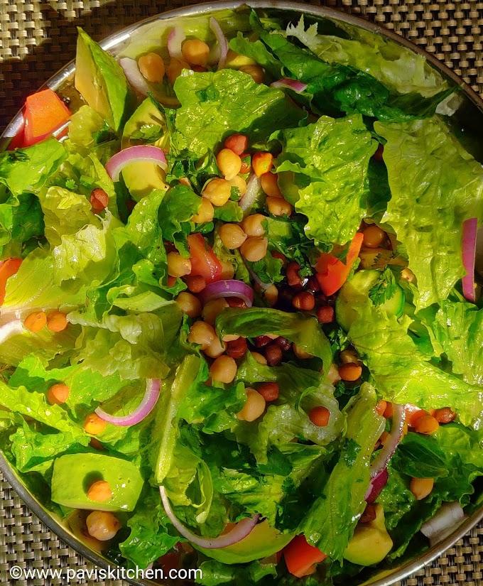 Lettuce salad recipe Indian   Chickpea salad recipe   Garbanzo/Chana/chole/Kondakadalai salad