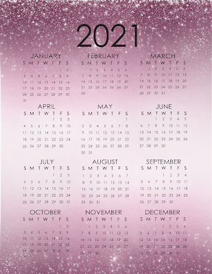 Free 2021 Printable Glitter One Page Calendars