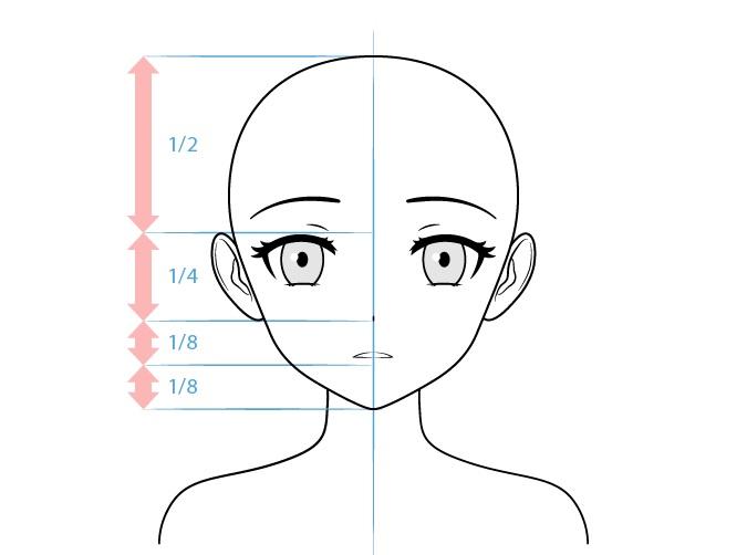 Anime yandere karakter wanita menatap dingin menggambar wajah