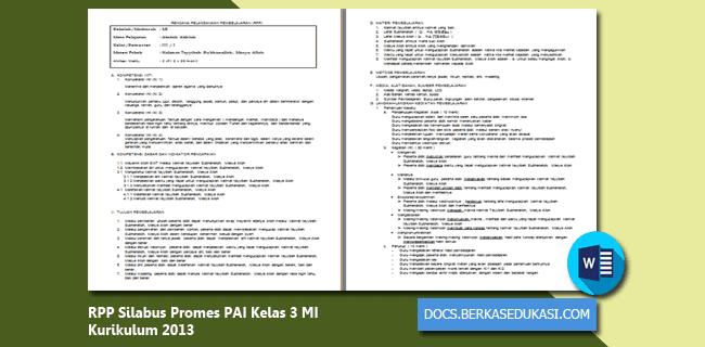 RPP Silabus Promes PAI Kelas 3 MI Kurikulum 2013 Revisi 2019-2020