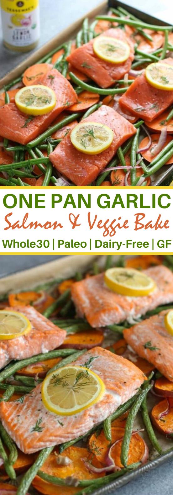 One-pan Salmon and Veggie Bake #healthy #paleo #glutenfree #whole30 #dinner