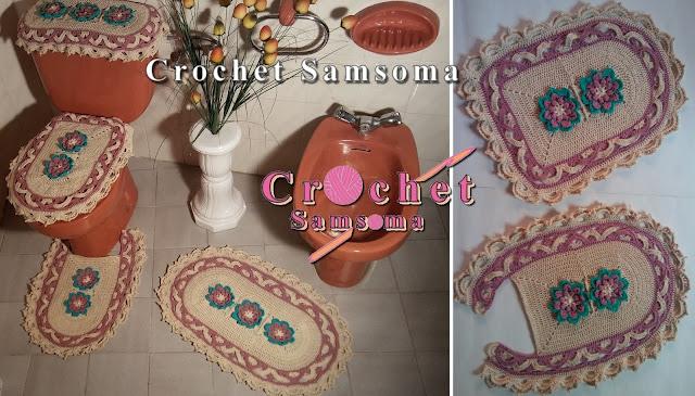 طقم حمام كروشيه . كروشيه غطاء شيفون الحمام .  . crochet Toilet Paper Cover pattern