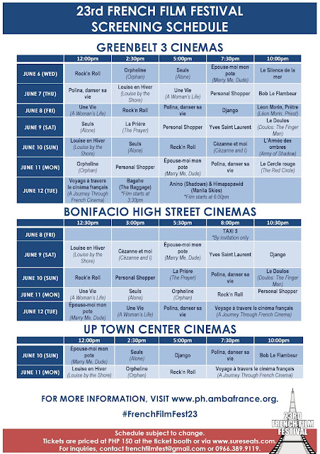 23rd French Film Festival schedule