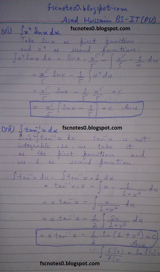 FSc ICS Notes Math Part 2 Chapter 3 Integration Exercise 3.4 Question 1 Asad Hussain 3
