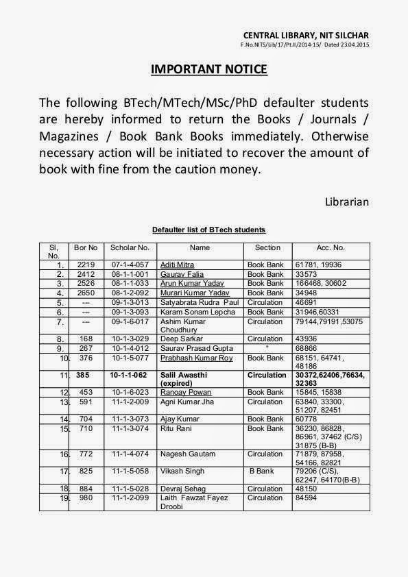 Library@NIT Silchar: List of BTech/MTech/MSc/PhD defaulter students