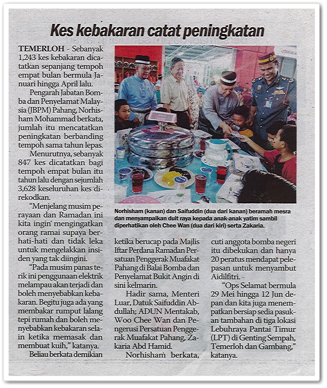 Kes kebakaran catat peningkatan - Keratan akhbar Sinar Harian 27 Mei 2019