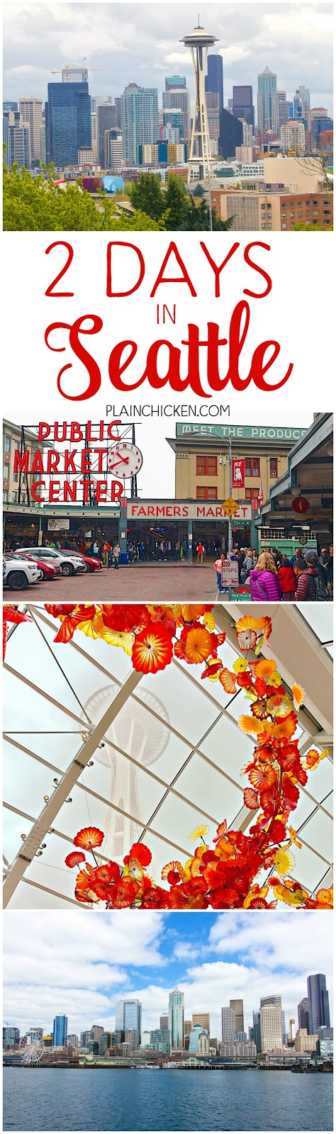 2 Days in Seattle - what to do, where to eat and where to get the BEST views of the city! Pike Place Market eats, Queen Anne Hill, Space Needle, Chihuly, EMP Museum, Houseboats, Kurt Cobain's house and THE BEST steak you'll ever eat! Seattle is one of my favorite towns!