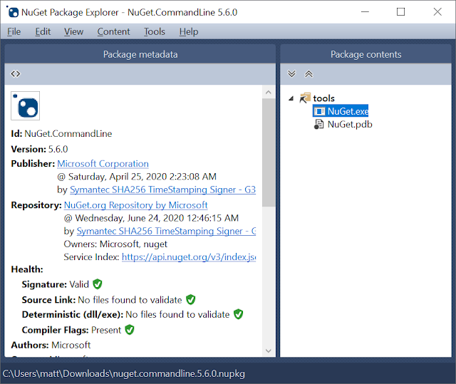 Nuget Package Explorer showing nuget.exe in the tools directory of the package
