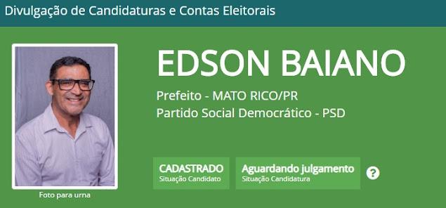 Mato Rico: Edson Baiano e Janaina Ortiz já estão cadastrados no TSE