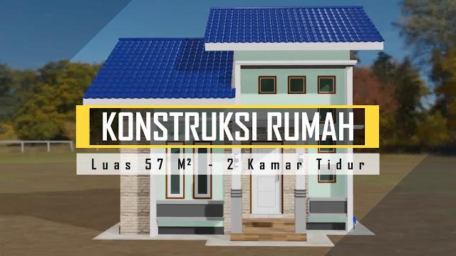Desain dan Denah Rumah Minimalis 57m2 2 Kamar