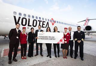 Volotea tocca a Napoli quota 1 milione di passeggeri