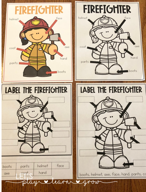 Firefighter labeling activity for fire safety week