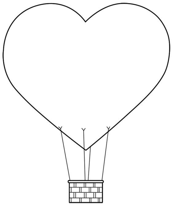 Tranh tô màu khinh khí cầu trái tim