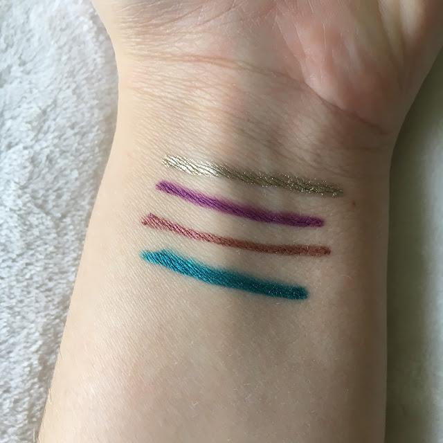 Swatches of Julep Eye Glider in Gilded Gold Radiant Amethyst Fig Shimmer Electric Teal Shimmer