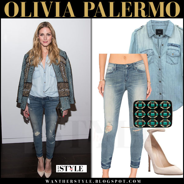 Olivia Palermo in green embellished hm jacket, denim rails shirt and skinny jeans what she wore