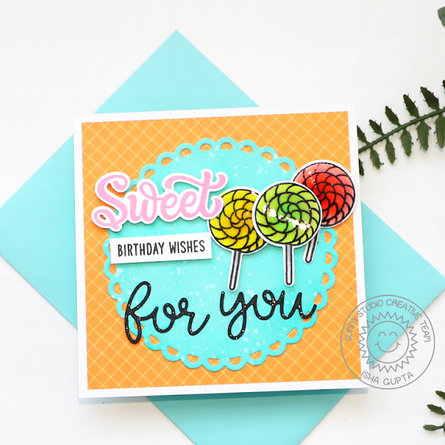Sunny Studio Stamps: Gift Card Pocket Dies Candy Shoppe Scalloped Circle Mat Dies Card by Isha Gupta