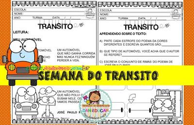 Atividades do Trânsito, Atividades de Interpretações de texto, alfabetização,