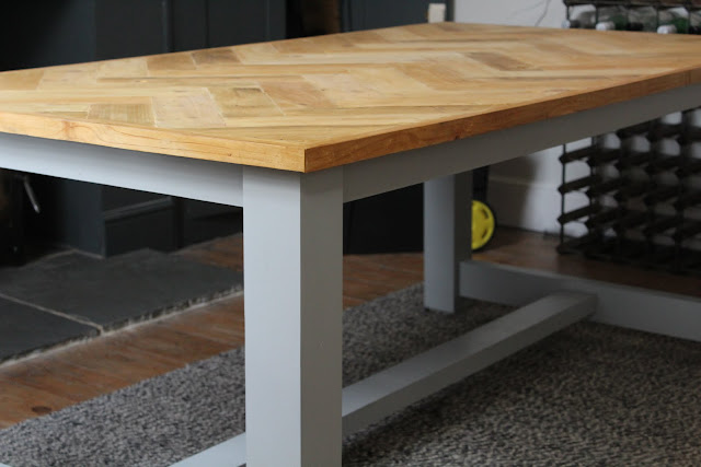 Rustic Farmhouse Table in Manor House Grey