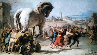 Procession of the Trojan Horse in Troy, created in 1773 by italian painter Giovanni Domenico Tiepolo, depicts the Trojan War.