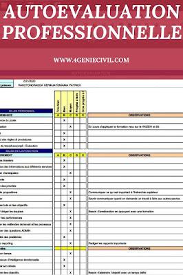tableau d'auto évaluation professionnel