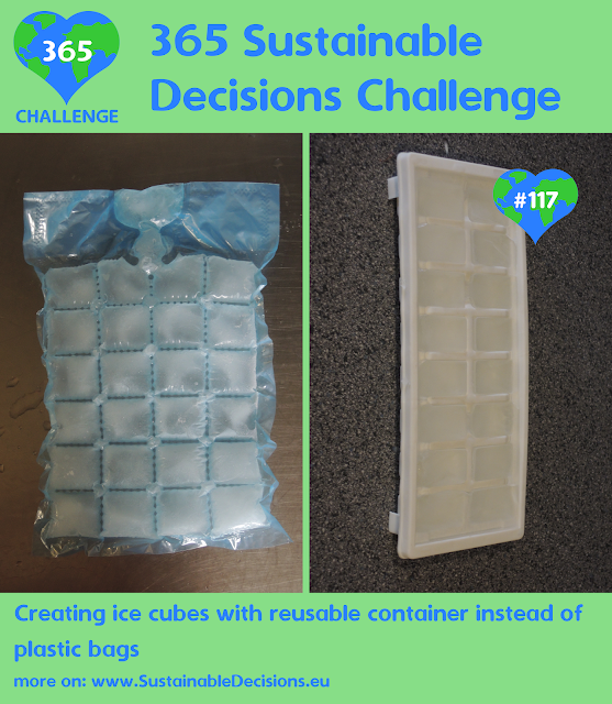 Creating ice cubes with reusable container instead of plastic bags reducing plastic waste reducing waste