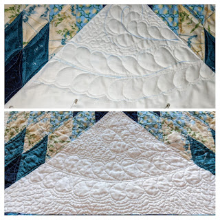 Detail photos of quilting feathers and filling their background