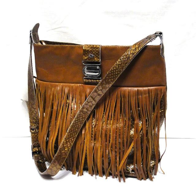 Кожаная сумка с бахромой Золотистый тайпан натуральная кожи (овечка и слой коровьей шкуры с тиснением змеиная кожа)