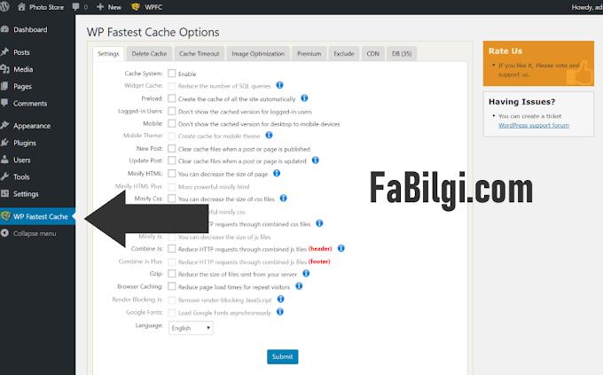 WordPress Önbellek Eklentisi Hız Artırma Seo Dostu (WP Fastest Cache)
