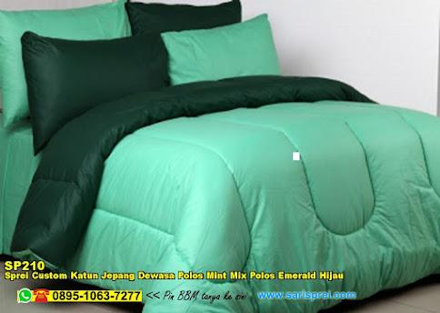 Sprei Custom Katun Jepang Dewasa Polos Mint Mix Polos Emerald Hijau