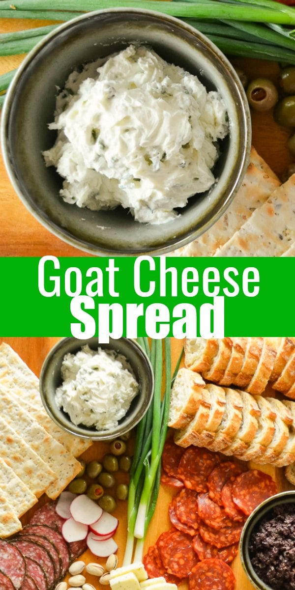 Goat Cheese Spread is super easy to make in under 5 minutes. It's delicious for dipping veggies or to spread on crackers. It's a great low calorie appetizer recipe from Serena Bakes Simply From Scratch.