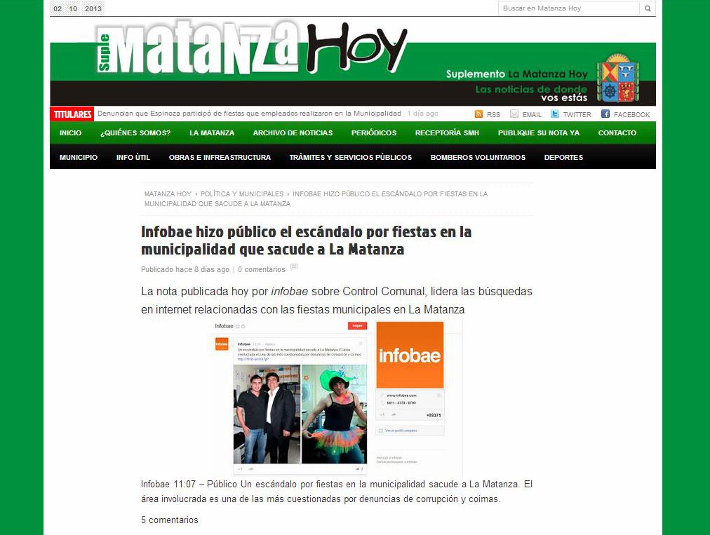 Ramos mej a trucha matanza hoy infobae hizo p blico el for Municipalidad la matanza