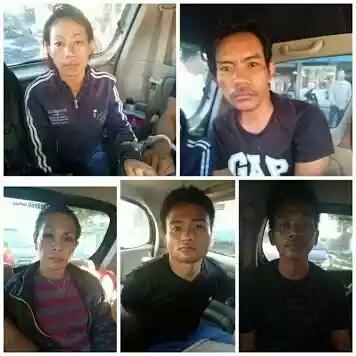 Kelima tersangka pelaku perampokan supir taksi online di Medan yang ditangkap di Tanjungbalai.