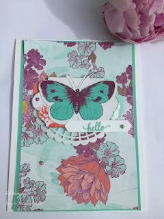 Card using Tea Time DSP and Butterfly from Tea Room Memories and More Pack. Stampin Up
