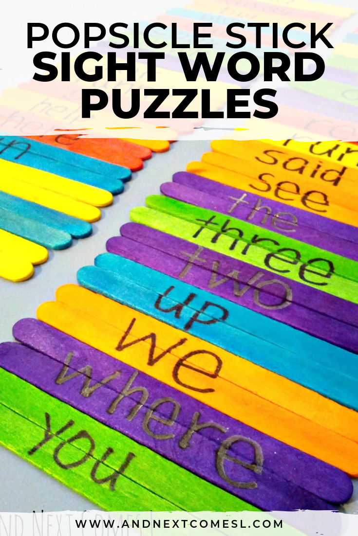 How to teach sight words using DIY popsicle stick sight word puzzles