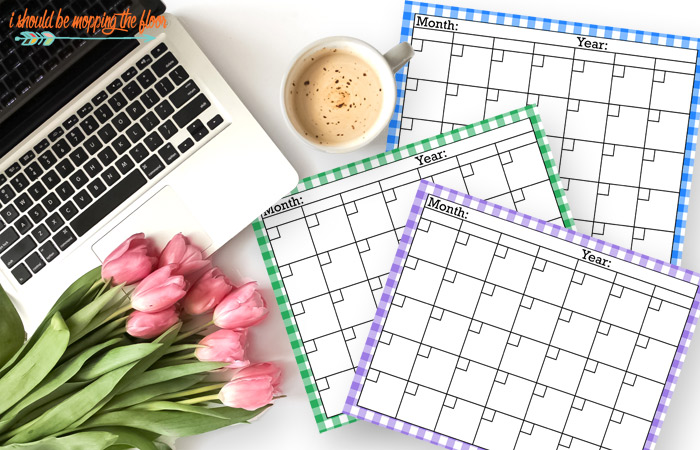 Gingham Calendar Printables