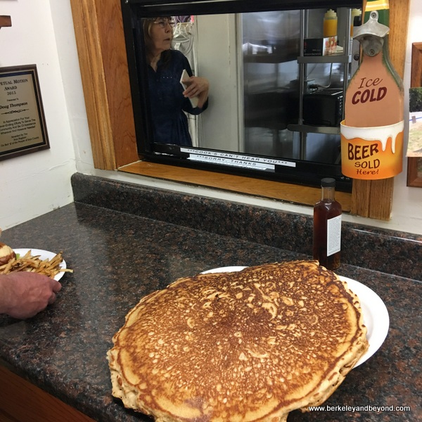 famous giant pancake at Whitney Portal Store in Lone Pine, California