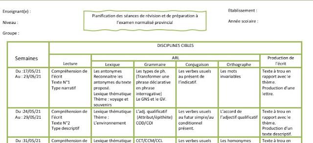 نموذج للتخطيط لأسابيع الدعم استعدادا  للامتحان الإقليمي الموحد اللغة الفرنسية