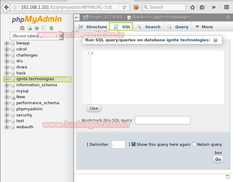 Shell Uploading in Web Server through PhpMyAdmin