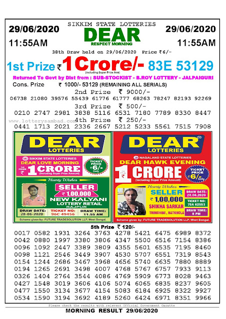 Sikkim State Lottery Sambad 29-04-2020 Today Result 11.55 AM